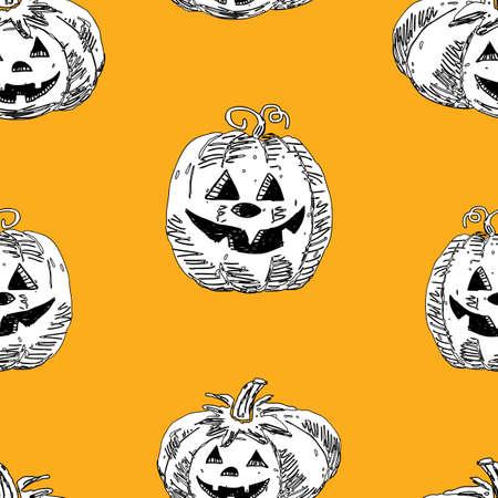 Seamless pattern of halloween pumpkins Çizim