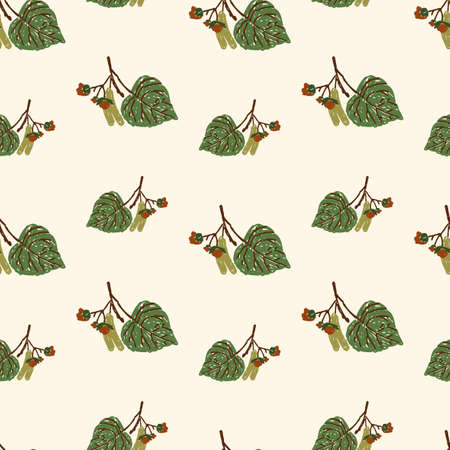 Seamless pattern of linden leaves with seeds