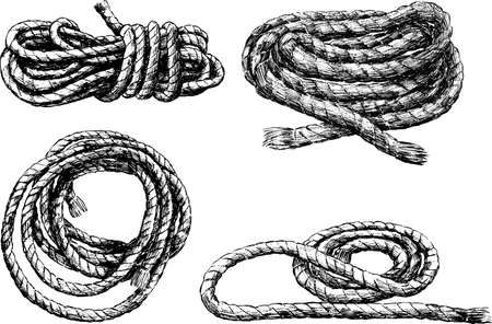 Sketches of skeins of rigging rope Illustration