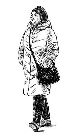 An joyful elderly woman walks down the street Çizim