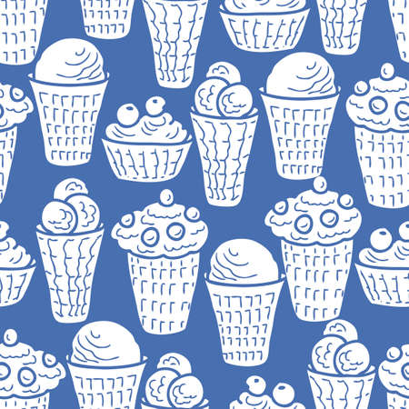 Background of waffle cups of ice cream