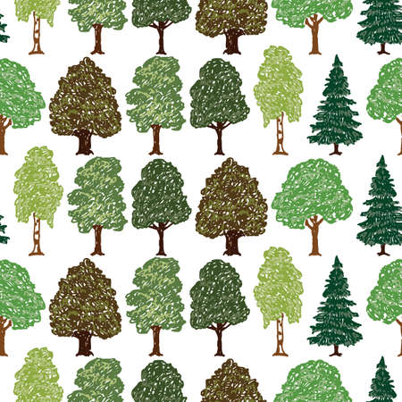 Seamless background of different drawn trees