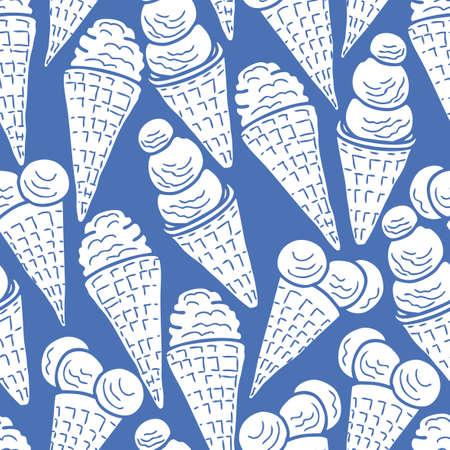 Seamless pattern of ice cream cones Çizim