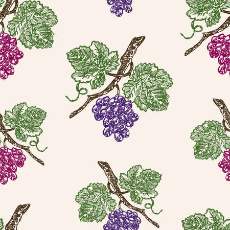 Seamless pattern of ripe grape bunches Stock Illustratie