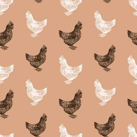 Seamless background of black and white hens