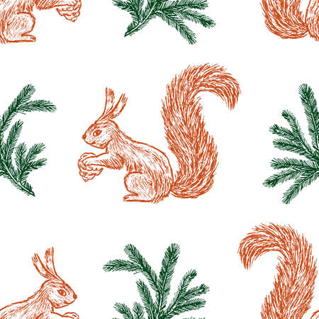 Seamless background of sketches of squirrels and fir branches Stock Illustratie