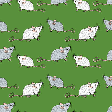 Seamless background of white and gray rats