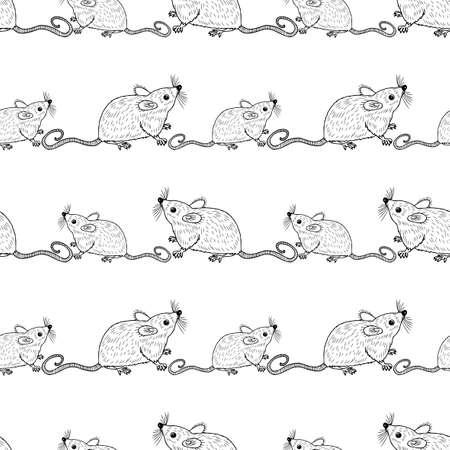 Seamless pattern of funny cartoon rats Çizim