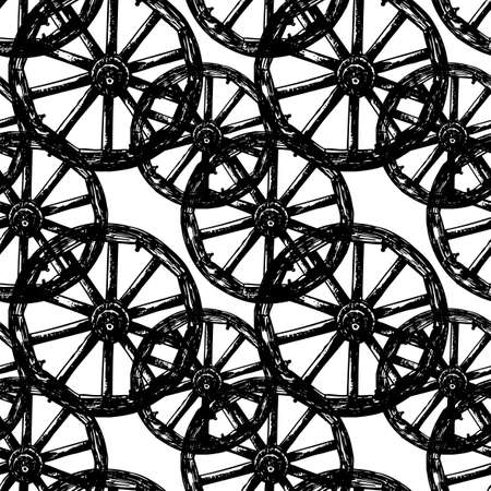 Seamless pattern of old wooden wheels