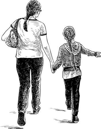 Una madre con su hija paseando.