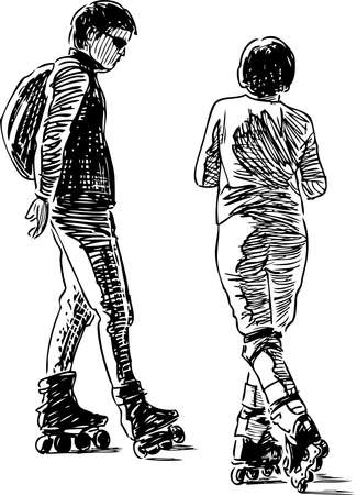 Sketch of a couple of citizens skating on the rollers