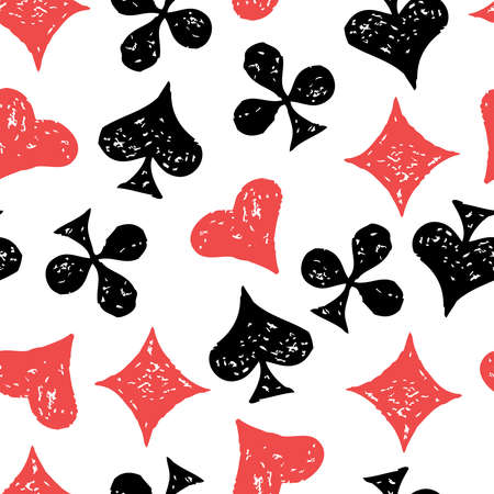Seamless pattern of suit symbols of playing cards
