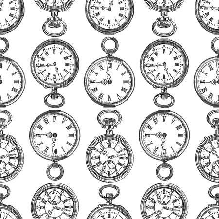 Patrón sin fisuras de varios relojes de bolsillo dibujados