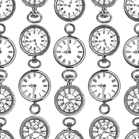 Seamless pattern of various drawn pocket watches