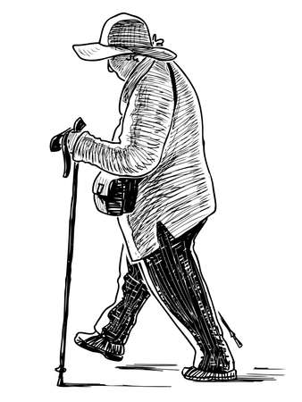 A sketch of an elderly woman engaging in Nordic walking with sticks Stock Illustratie