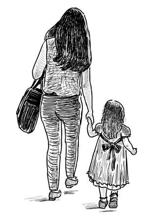 Sketch of a mother with her little daughter going for a stroll