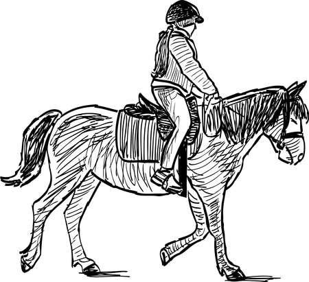 Sketch of little girl riding a horse Stock fotó - 136176088