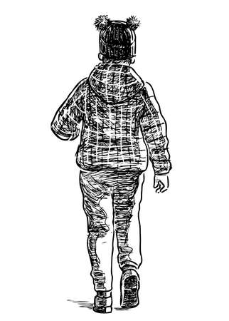 Sketch of one little girl walking along street