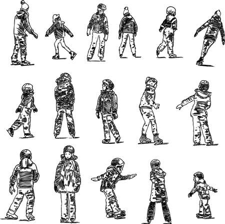 Vector drawings of children skating on a city ice rink