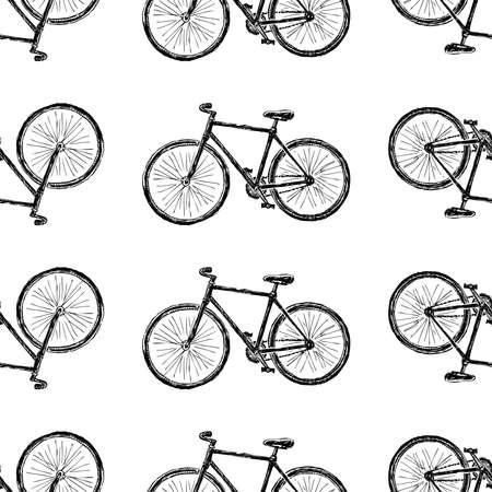 Modello senza cuciture di schizzi di biciclette da città per uno stile di vita attivo Vettoriali