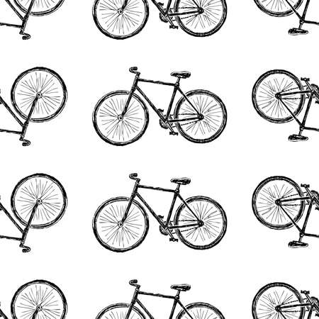 Seamless pattern of sketches city bicycle for active lifestyle Vector Illustratie