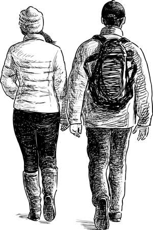 A sketch of couple city dwellers walking along street in cold weather