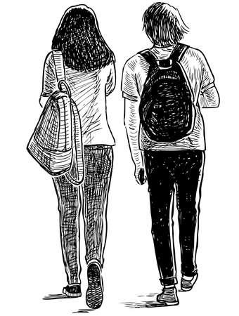Croquis du couple d'amis étudiants marchant dans la rue