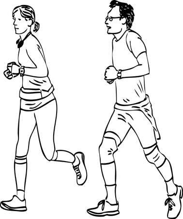 Vector drawing of couple citizens jogging