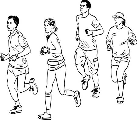 Vector drawing of group young people jogging