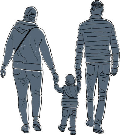 Vector image of young parents with their baby walking along street