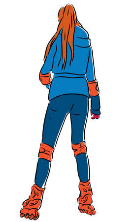 Vector drawing of a young woman roller skating