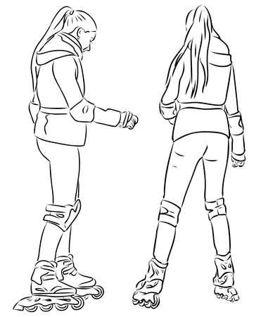 Vector outline drawing of teen girls on roller skates 일러스트