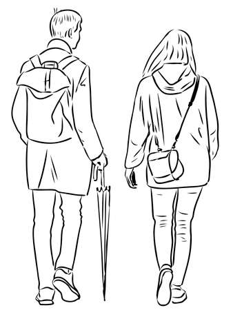 Vector outline drawing of young students couple walking down city street