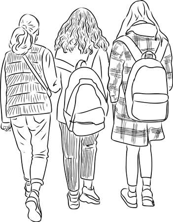 Contour drawing of students girls going along street