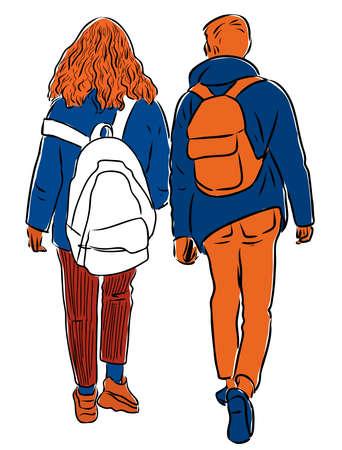 Vector drawing of couple teenagers walking along street
