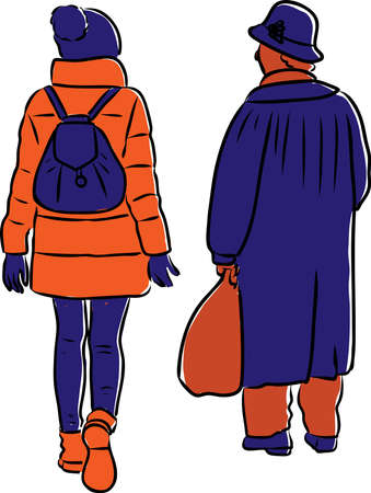 Vector drawing of silhouettes senior woman and her granddaughter walking along street