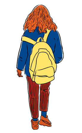 Vector drawing of student girl with backpack walking along street