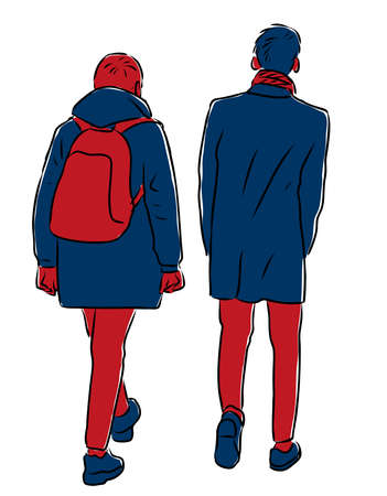 Vector drawing of students friends walking along street