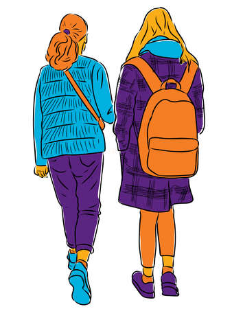 Vector drawing of students girls going along street
