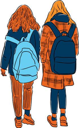 Vector drawing of students girls walking down street Ilustração