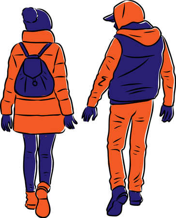 Vector image of couple young citizens going down street