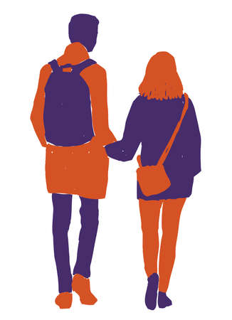 Vector image of silhouettes young citizens walking along street Ilustração