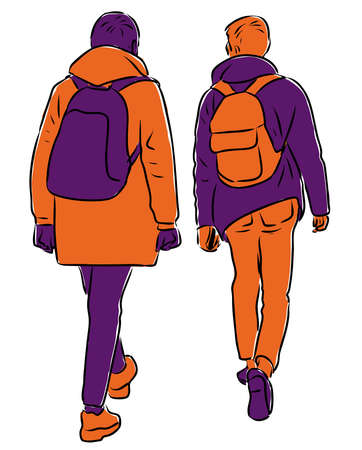 Vector image of students friends walking down street Ilustração