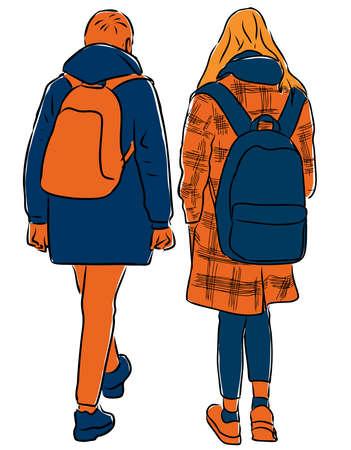 Vector image of teens students walking down street Ilustração