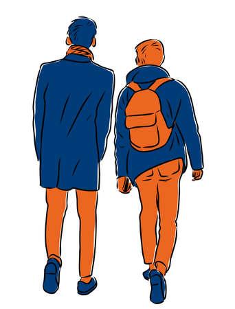 Vector image of young men walking down street