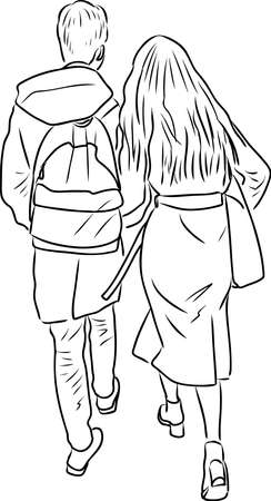 Outline drawing of couple young citizens walking down street