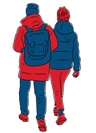 Vector drawing of couple students walking outdoors Ilustrace
