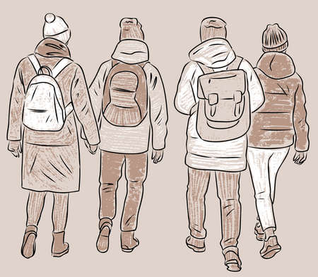 Vector drawing of four students friends walking outdoors