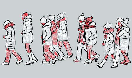 Vector drawing of group school children walking outdoors