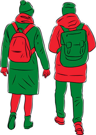 Vector illustration of teenagers couple going outdoors together